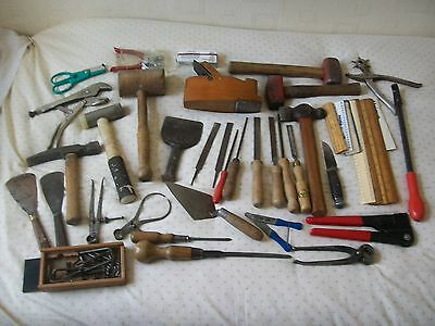 A Mixed Lot Of Vintage Hand Tools - Hammers, Files, Capliers, Grips Etc.