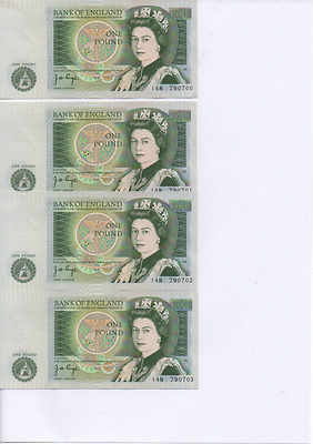 8 Consecutively Numbered Bank of England One Pound Notes Page