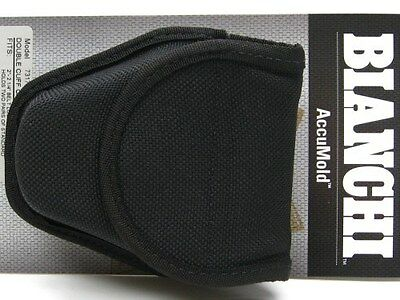 BIANCHI Black 7317 ACCUMOLD Double Handcuff Cuff Case Hidden Snap Pouch! 18771