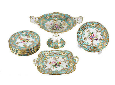 19th Century French Hand Painted Porcelain 11 Piece Dessert Service for Nine