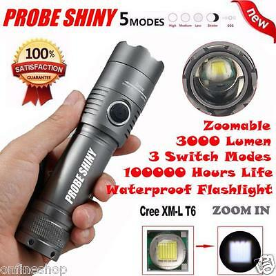 X800 3000Lm CREE XML T6 LED Zoomable 18650 AAA Flashlight Torch Light Lamp