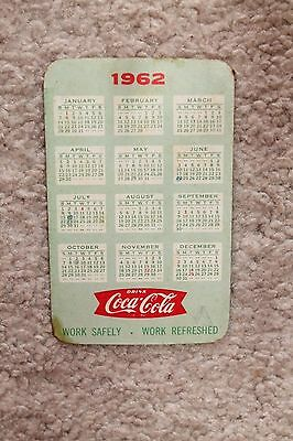 Vintage Advertising Wallet Pocket Ruler & Calendar Card  1962 COCA COLA COKE