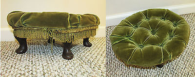 "Vintage Mid Century Green Tufted Velvet Cushion Stool Footed 15"" x 12"" x 6"""