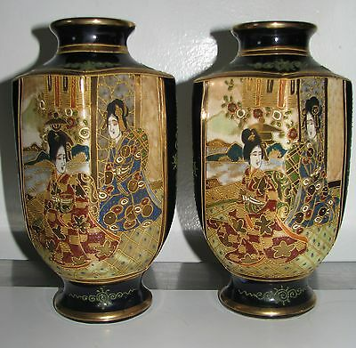 Pair Japanese Satsuma Vases Mid 20Th Century