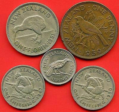 New Zealand 1951 1 Florin 1947 1950 1 Shilling 1965 6 Pence & 1959 1 Penny Coins