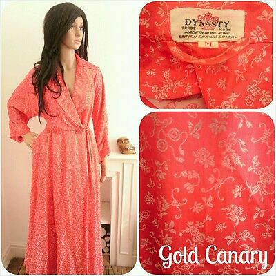 Vintage Dynasty Red 50s Silk Embroidered Dressing Gown House Robe 40s S M 8 10
