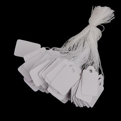 500 White String Paper Price Tags Jewelry Watch Cloth Display Hang Labels #2