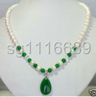 New Jewelry White Freshwater Pearl & green jade Pendant Necklace