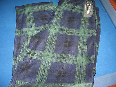 NWOT Perry Ellis Green Blue Plaid Fleece Sleepwear Pajama Pants Mens Sz XL