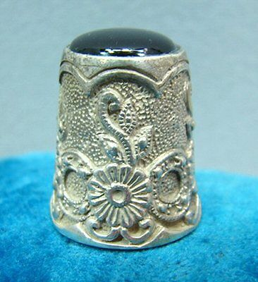 Antique Sterling Silver Thimble #1 RARE Black Onyx? Top from Estate Collection