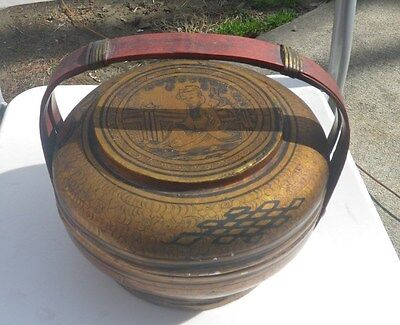 Vintage 1880s Hand Painted Lacquered Chinese Basket w Original Paper Signature