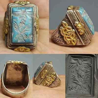 Gold Silver Turquoise King Emperor & Bird Antique Ring #Q1