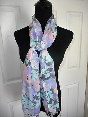 Nwt The Childrens Place Girls Pastel Floral Scarf With Fringe