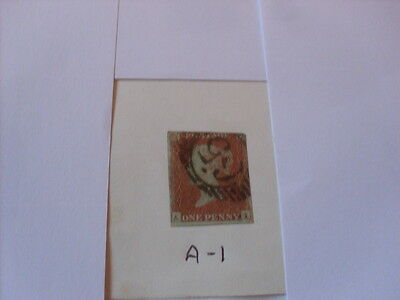 Queen Victoria 1841 Penny Red  A - I  Imperforate