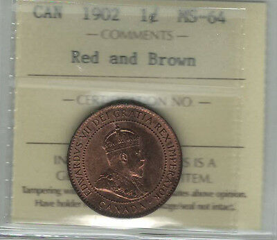 Canada 1902 1 Cent ICCS MS64 Red and Brown (XOH 870)