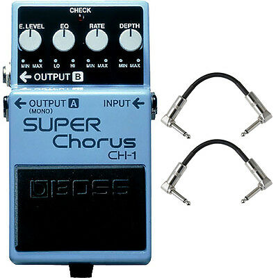 Boss CH-1 SUPER Chorus Guitar Effects Pedal Stompbox Footswitch + Patch Cables