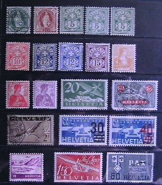 SWITZERLAND 1882-1945 Collection of 20 m/h & used