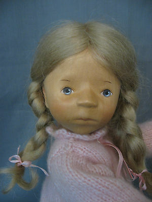 """Elizabeth Pongratz Carved All Wooden 14"""" Doll - With Hangtag Made In Germany"""