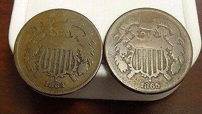 1864 & 1865 Two / 2 Cent Coins