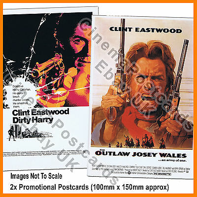 Dirty Harry #1 + Outlaw Josey Wales 2 Clint Eastwood POSTCARDS (*1/s Poster Art)