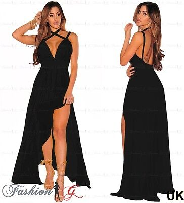 Womens Evening Dress Black Maxi Gown Prom Party Formal Long Halter Size 10 12 M