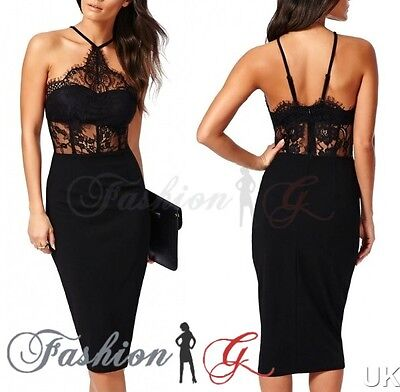Ladies Womens Midi Dress Bodycon Black Party Pencil Wiggle Evening Size 12 14 M-