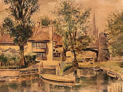 Watercolour Painting of Pull's Ferry in Norwich