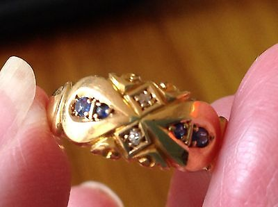 WOW VINTAGE VICTORIAN SAPPHIRES & DIAMONDS CHESTER 18 ct GOLD BAND RING HANDMADE