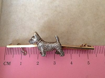 WOW ART DECO ANTIQUE VINTAGE SCOTTIE DOG ON 9ct GOLD BROOCH PIN