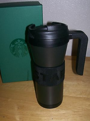 Starbucks 16 Oz Stainless Steel Black Coffee Mug Tumbler With Handle And Lid