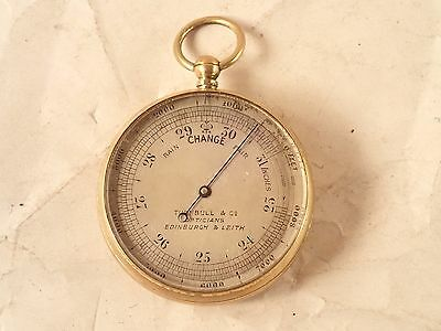 Antique TURNBULL & CO., EDINBURGH Gilt Brass Pocket Barometer Altimeter, 1894
