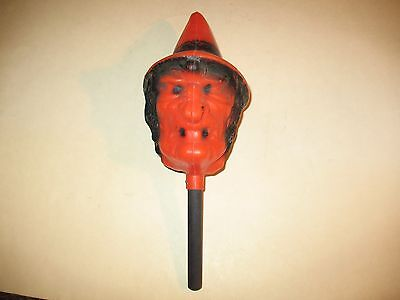 vintage HALLOWEEN WITCH HEAD ON A STICK NOISE MAKER ~ BAYSHORE,N.Y. ~ NICE