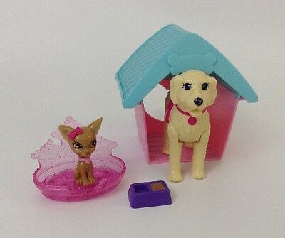 Barbie Walking Dog and Chihuahua Lot of Dog Accessories Dog House Bed Toys
