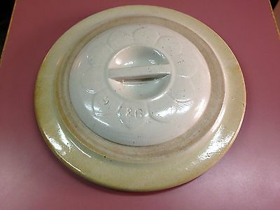 Antique Stoneware Crock Lid # 5 & 6 Daisy Lid 10 petal inset handle Red Wing