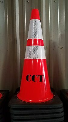 "(25) 28 Inch Orange Safety Traffic Cones W/4 & 6"" 3M Reflective Collar"
