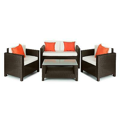 Garden Outdoor Chair Sofa Table Set Polyrattan Wicker Home Pub Couch 4 Cushions