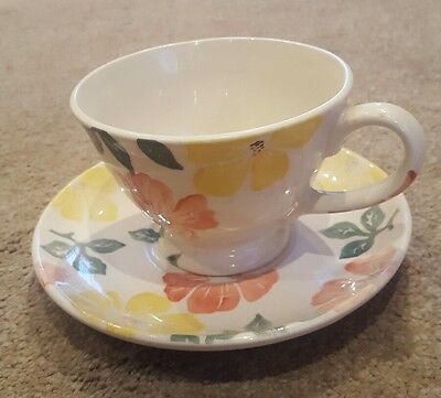 """Rare/Vintage Royal Winton """"Wild Roses"""" Hand Decorated Spongeware Cup and Saucer"""