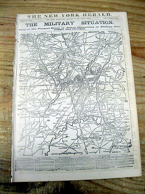 1863 Civil War newspaper w HUGE detailed MAP of GEORGIA & Chattanooga TENNESSEE