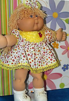 Cabbage Patch Doll Cloths- Yellow Dress-matching panties - 2 hair bows