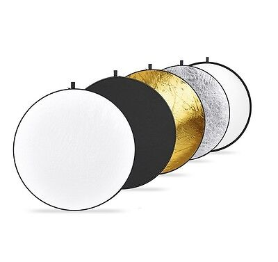 Round Light Reflector 80cm Portable 5 In 1 Translucent Black Silver Gold White