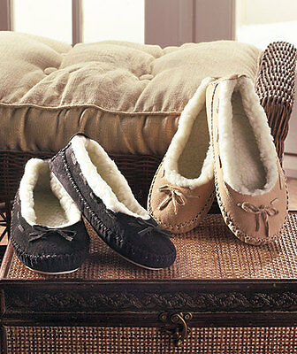 Black Or Natural Women's Genuine Suede Moccasins Slippers Fleece Lining Warm