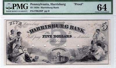 1850s,Harrisburg Bank. PA.$5 proof.Graded CH.UNC.-64 by PMG.
