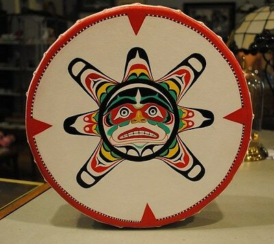 Native American Art Sun Mask Hand Made Drum Pacific Northwest Indian Makah Tribe