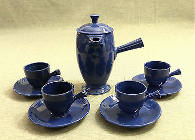 Fiesta Vintage Cobalt Stick Handled Demitasse Coffee Pot with Cups & Saucers