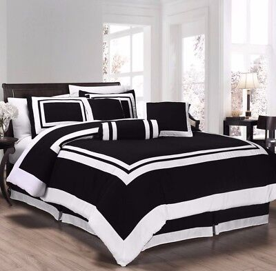 Chezmoi Collection 7pc Black White Block Hotel Style Comforter Set, Cal King