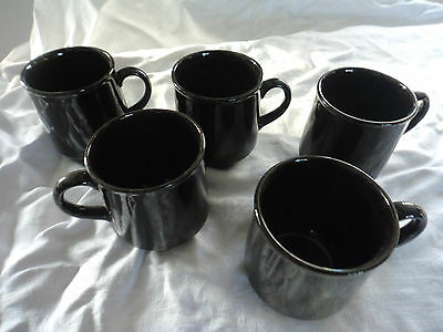 Poole pottery set of 5 brown glazed cups vintage