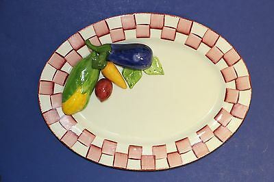 """Cali Pottery Pink & White Checkered Oval Platter with Vegetables 12.5"""" Plate"""