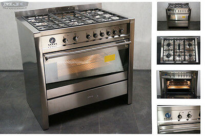SMEG Opera A1-7 90cm Dual Fuel Single oven Freestanding Range cooker Steel (109)