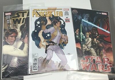 Star Wars  001 Loot Crate Variant 004 Gamestop Princess Leia 001 Lot Of 3 Comics