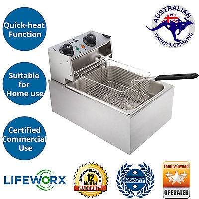 5 Star Chef Commercial Electric Deep Fryer with Basket Stainless Steel Body New